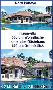 Traumvilla mit separatem Gästehaus und Swimmingpool in Nordpattaya zum Verkauf