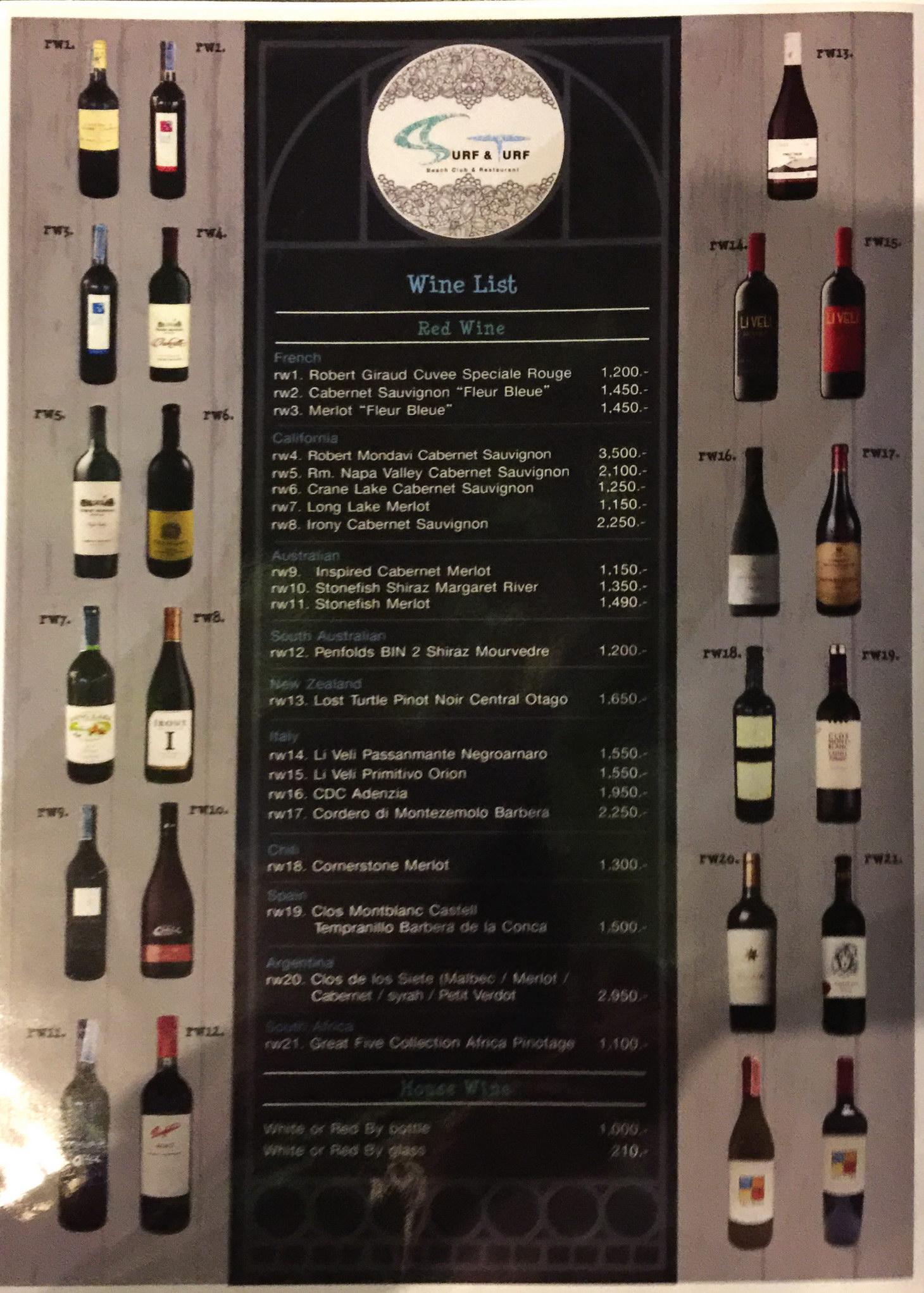 Weinkarte Restaurant mit Lifemusik in Naklua Soi 16 - Wongamt Beach