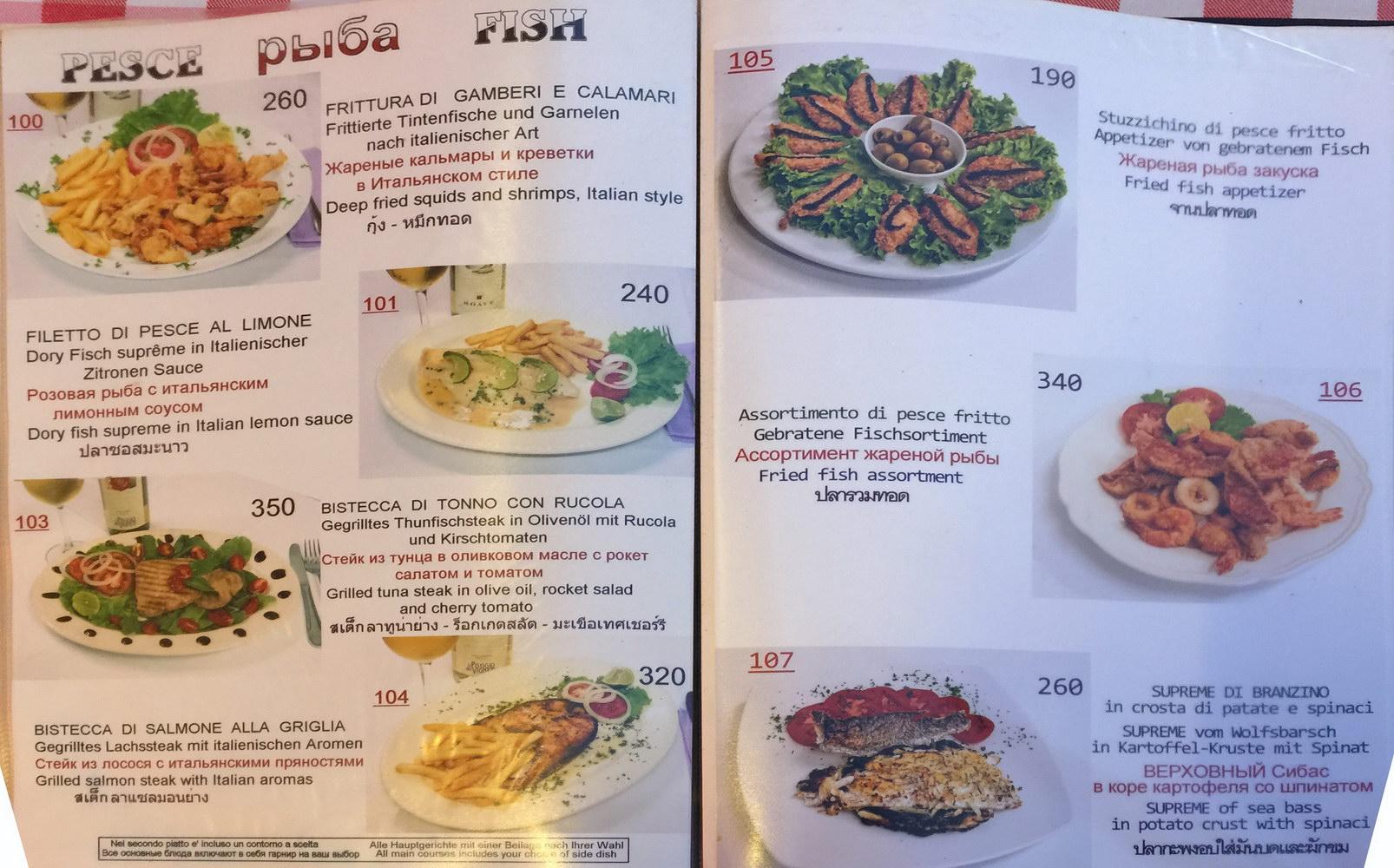 Fischgerichte Menü Grottino Restaurant Naklua (Auswahl)