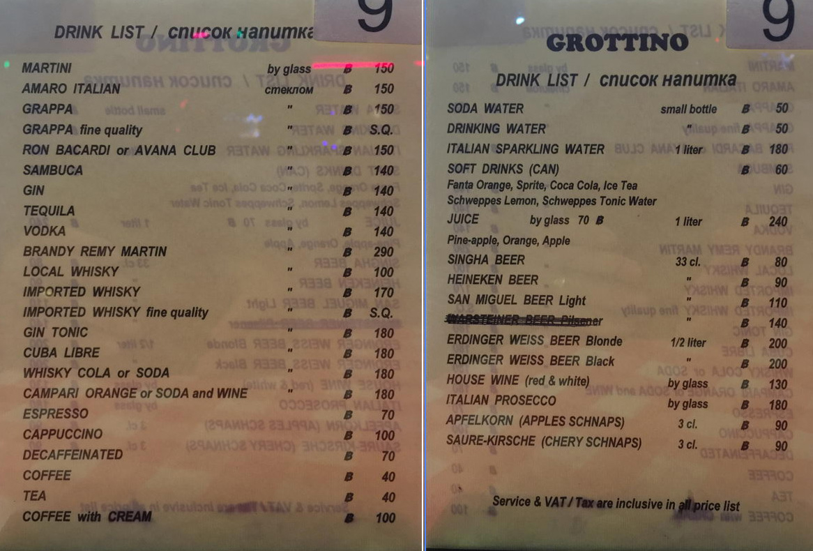 Grottino Getränkekarte