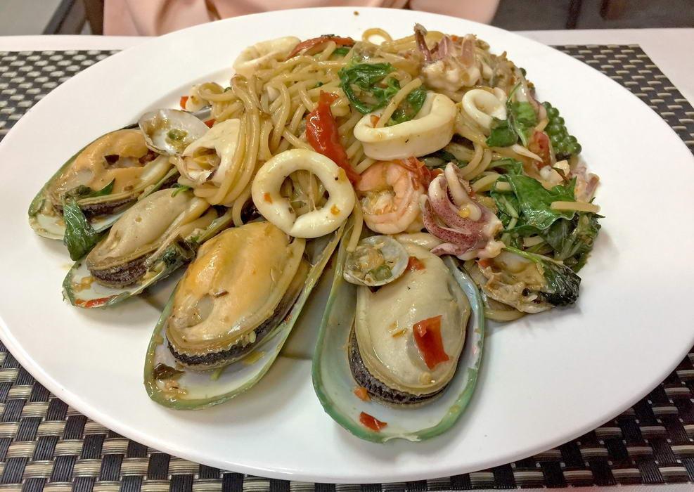 Spaghetti Seafood (Meeresfrüchte) im Bella Italia Naklua