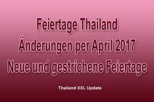 Feiertagsänderungen Thailand ab 2017