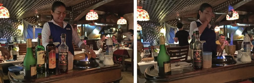 irish coffee im Swissfood Pattaya am Tisch zubereitet