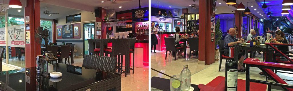 Pepper & Salt Restaurant mit modernem rot-schwarzen Ambiete