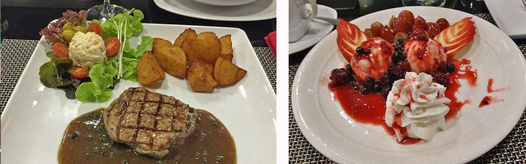Pfeffersteak und ein leckerer Nachtisch : Eis mit Beeren - Darkside Restaurant Pattaya