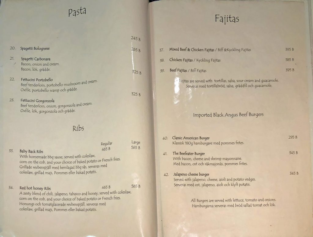 Beefeater Speisekarte : Pasta, Ribs
