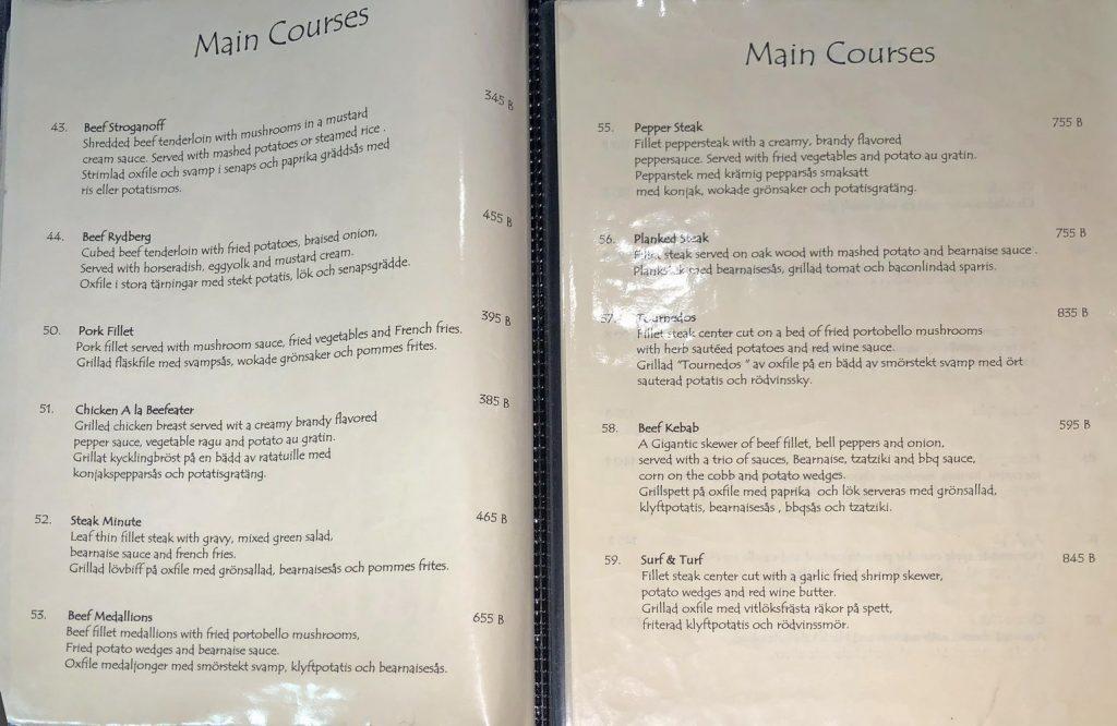 Menü Beafeater - Hauptgerichte