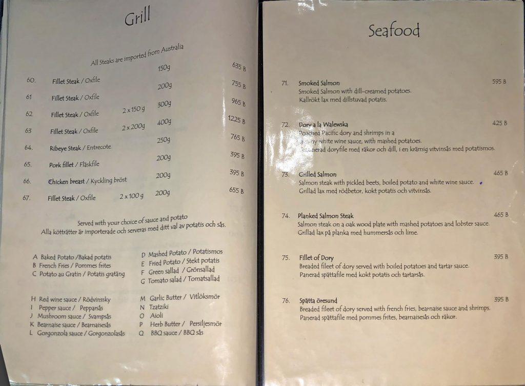Menü Beefeater : Grill und Meeresfrüchte