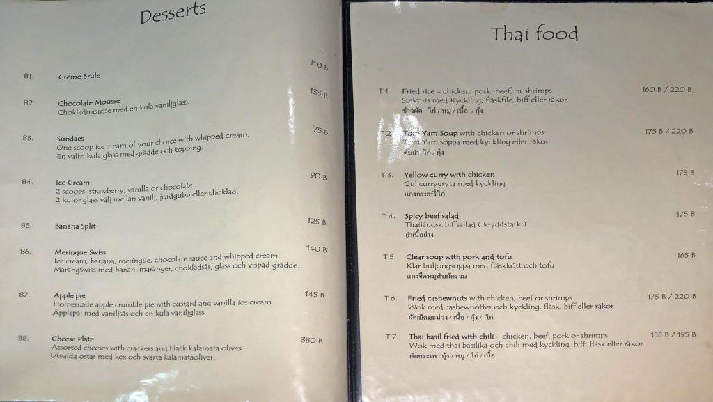beefeater menü - Desserts und Thai Food