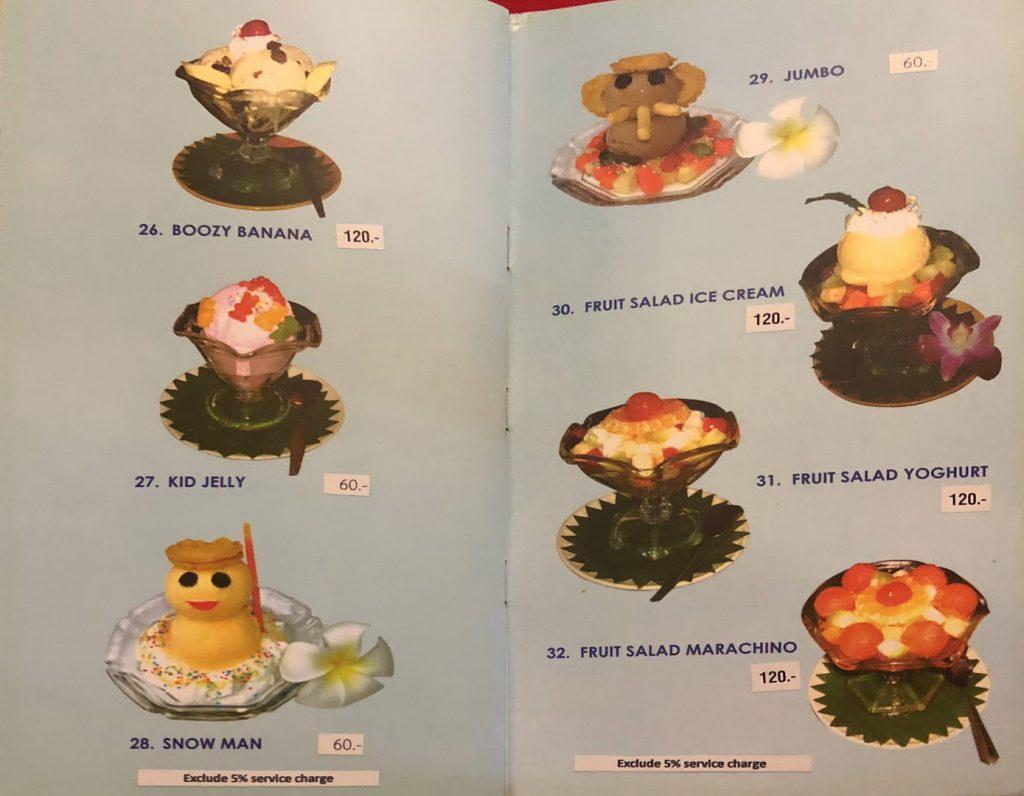 Nachspeisen / Dessert Menue Ruen Thai Restaurant Pattaya