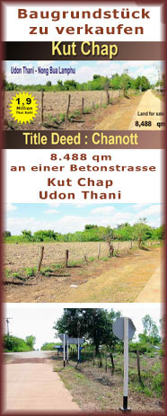 Grosses Baugrundstück in Udon Thani / Kutchap zu verkaufen